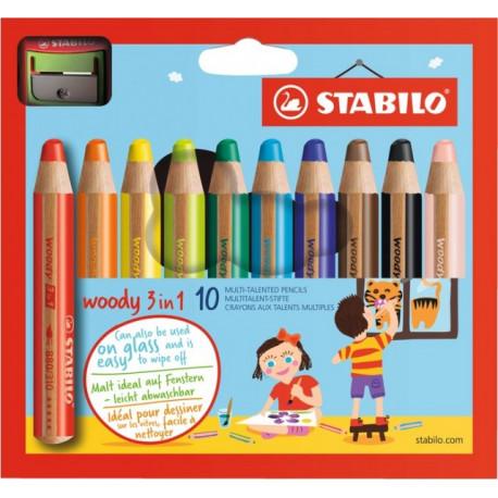 Pastelko-vodovko-voskovky STABILO Woody 3 in 1 pre najmenších